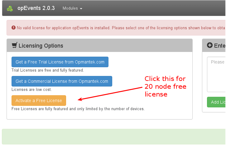 Activating a 20 node free forever license process - opCommon